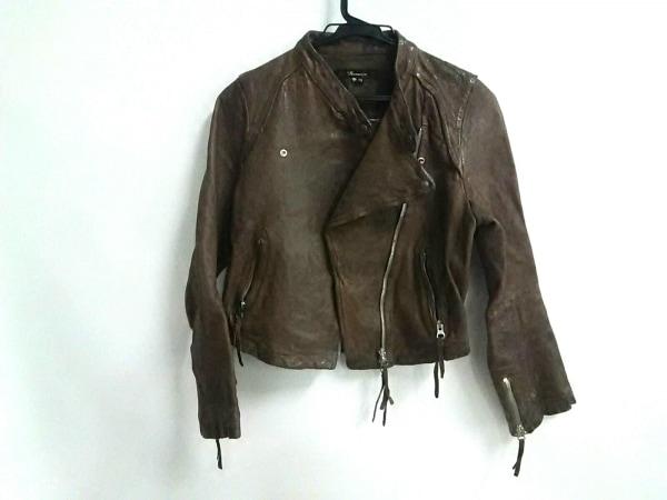 フラミューム ライダースジャケット サイズ38 M レディース ブラウン ラムレザー