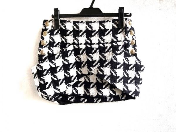 BALMAIN(バルマン) ミニスカート サイズ36 S レディース美品  4120 129C 黒×白