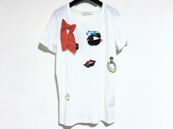 エイチアンドエム×ランバン 半袖Tシャツ サイズS レディース美品  白×マルチ