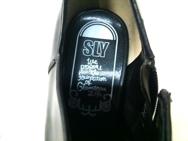 SLY(スライ) ブーティ S レディース 黒×ライトグリーン レザー 6