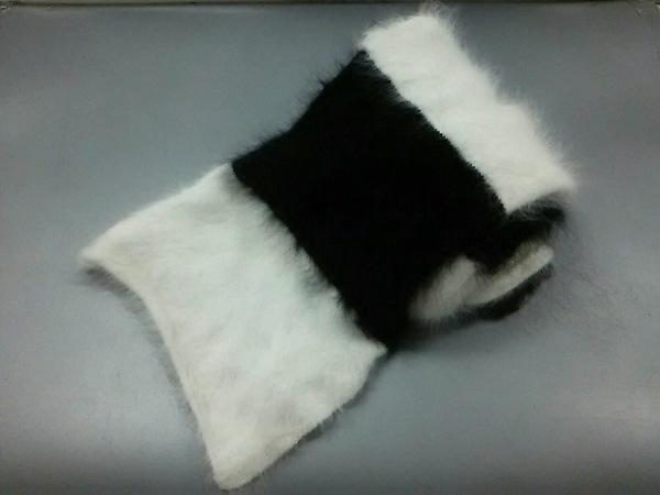 プリングル マフラー 白×黒 ボーダー