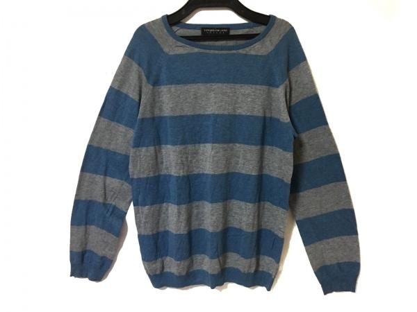 トゥモローランド 長袖セーター サイズM メンズ美品  グレー×ブルー tricot/ボーダー