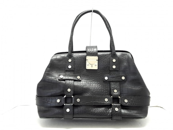 サマンサタバサニューヨーク ハンドバッグ 黒 型押し加工 合皮