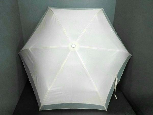 ジュンコシマダ 折りたたみ傘美品  ベージュ×シルバー ナイロン×金属素材
