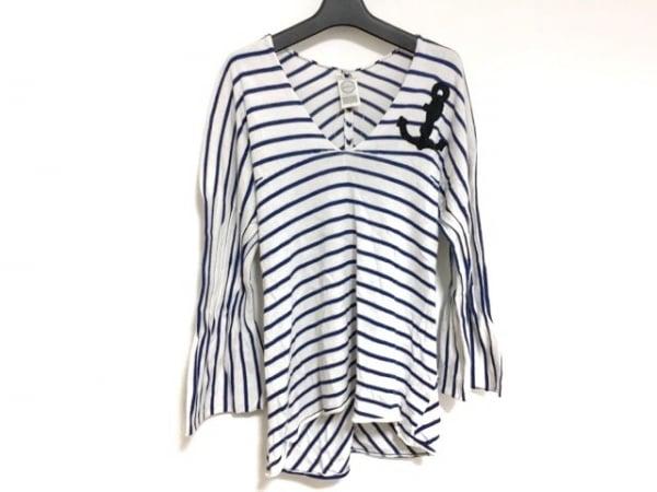 ANTIPAST(アンティパスト) 長袖セーター レディース 白×ネイビー×黒 ボーダー/刺繍