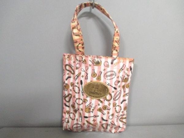 ミモ ハンドバッグ ピンク×白×マルチ