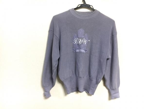 ブラック&ホワイト 長袖セーター パープル