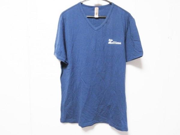 ジョンガリアーノ 半袖Tシャツ サイズUSA XL メンズ ネイビー×白 Vネック