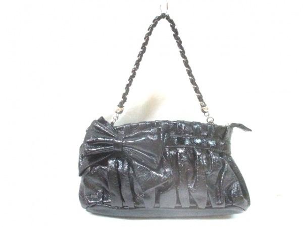 フラジール ハンドバッグ 黒 リボン