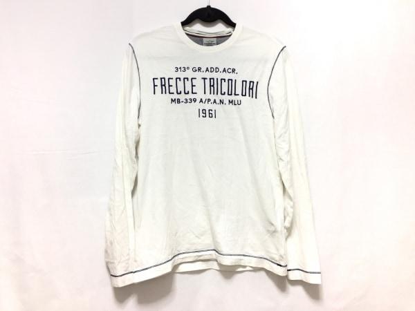アエロナウティカミリターレ 長袖Tシャツ サイズS メンズ 白×ネイビー 刺繍