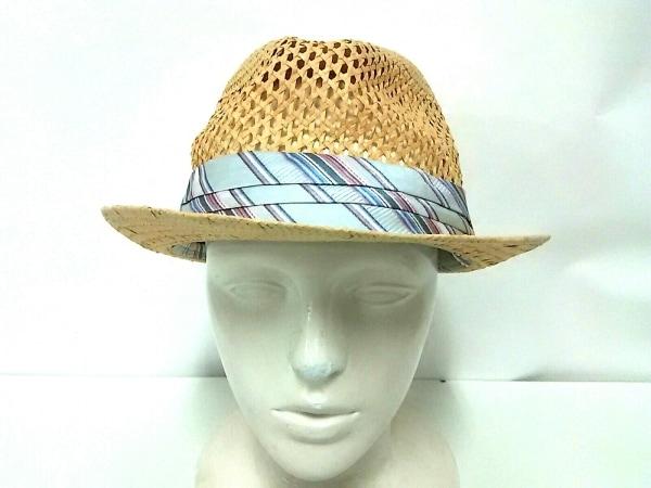 クリスティーズ 帽子 ライトブラウン×ライトブルー×マルチ 麦わら帽子 TOYO