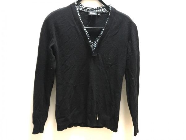 ジャストカヴァリ 長袖セーター サイズS レディース 黒×ライトブルー×白