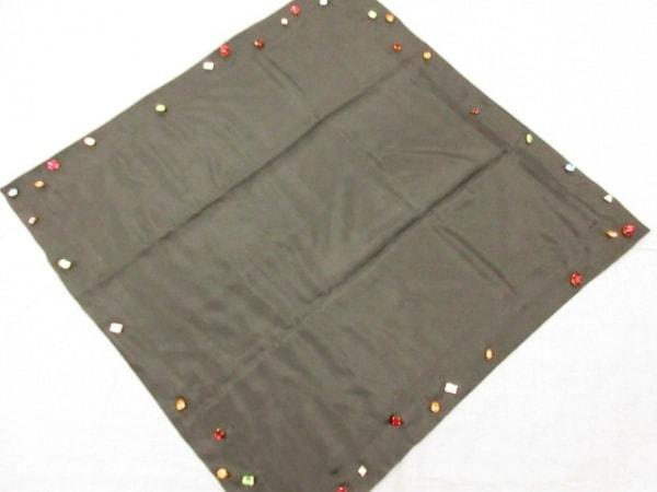 シャネル スカーフ 黒×マルチ ビジュー