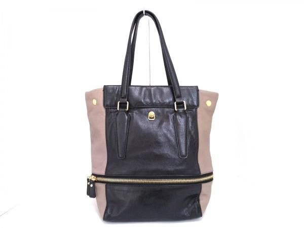 ハシバミ ハンドバッグ 黒×ベージュ