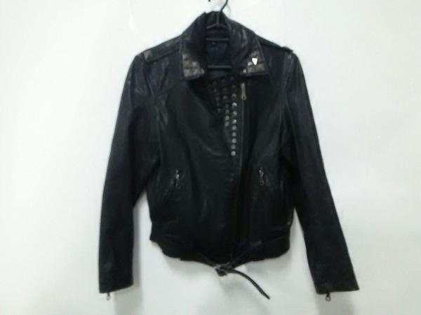 フラミューム ライダースジャケット サイズ38 M レディース美品  黒×シルバー