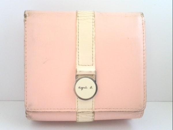 アニエスベー 3つ折り財布 ピンク×アイボリー がま口 レザー 1