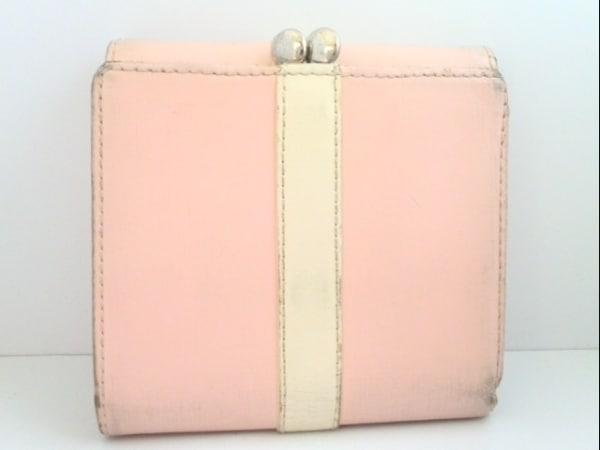 アニエスベー 3つ折り財布 ピンク×アイボリー がま口 レザー 2