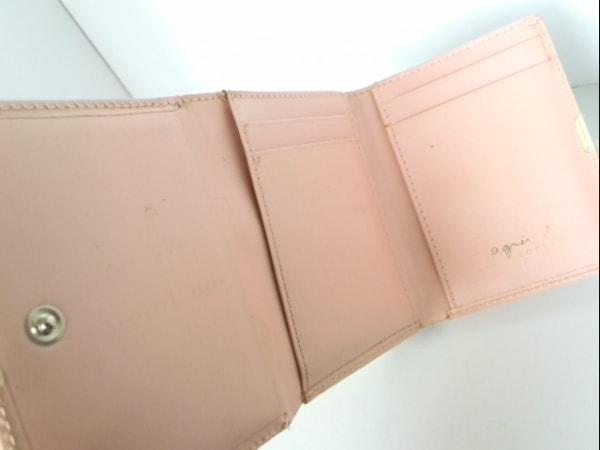 アニエスベー 3つ折り財布 ピンク×アイボリー がま口 レザー 3