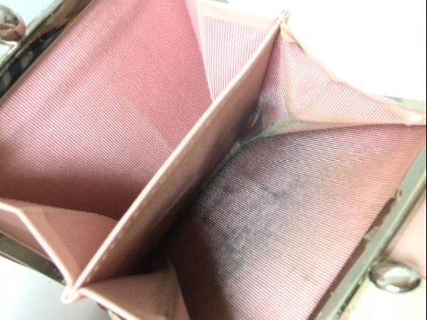 アニエスベー 3つ折り財布 ピンク×アイボリー がま口 レザー 4