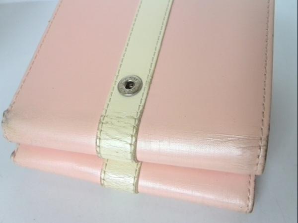 アニエスベー 3つ折り財布 ピンク×アイボリー がま口 レザー 7