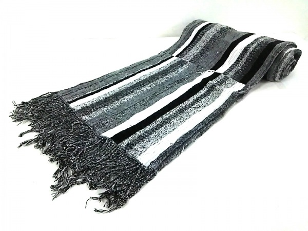 Tolani(トラニ) マフラー 黒×白 フリンジ