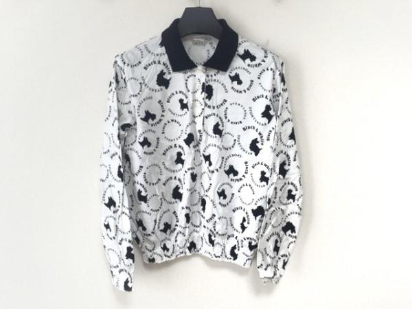 ブラック&ホワイト 長袖ポロシャツ サイズM