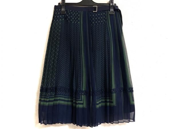 サカイ 巻きスカート レディース美品  ネイビー×グリーン ドット柄 1