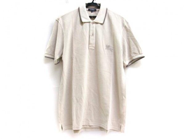 バーバリーロンドン 半袖ポロシャツ サイズLL メンズ ベージュ×ダークブラウン