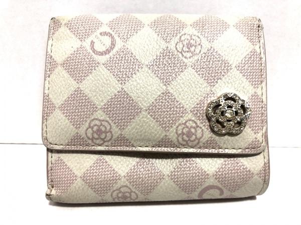 CLATHAS(クレイサス) 3つ折り財布 白×ピンク フラワー レザー 1
