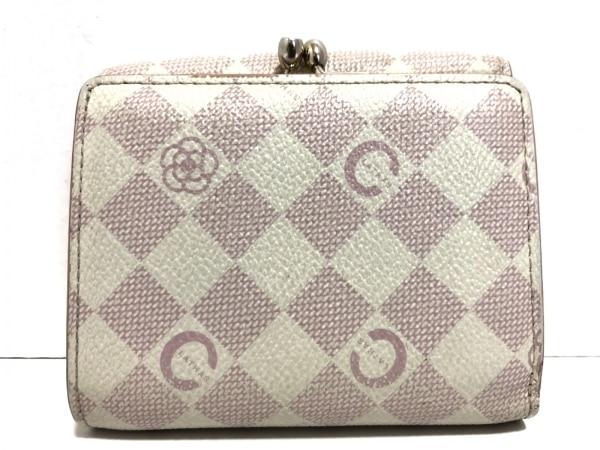 CLATHAS(クレイサス) 3つ折り財布 白×ピンク フラワー レザー 2