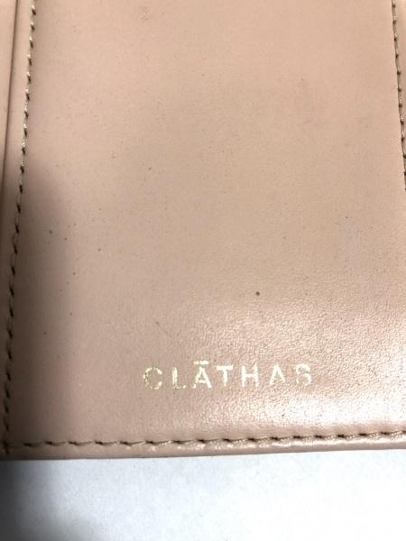 CLATHAS(クレイサス) 3つ折り財布 白×ピンク フラワー レザー 5