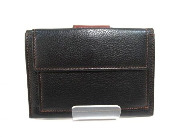 ノーブランド 3つ折り財布 ブラック×ブラウン 2