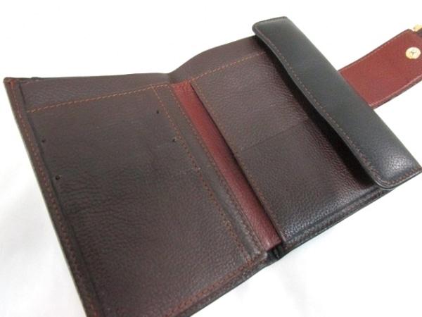 ノーブランド 3つ折り財布 ブラック×ブラウン 3