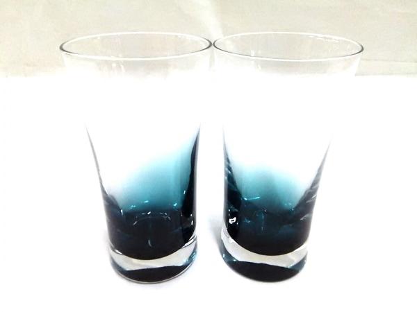 ノーブランド ペアグラス新品同様  クリア×ブルー 1