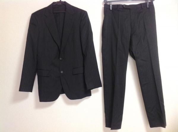 プラチナコムサ シングルスーツ サイズ48 XL メンズ 黒×グレー ストライプ/肩パッド