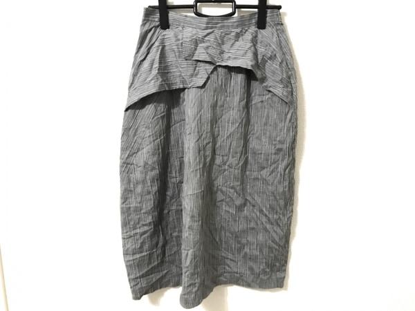 メフウ/センソユニコ ロングスカート サイズ38 M レディース美品  グレー ストライプ
