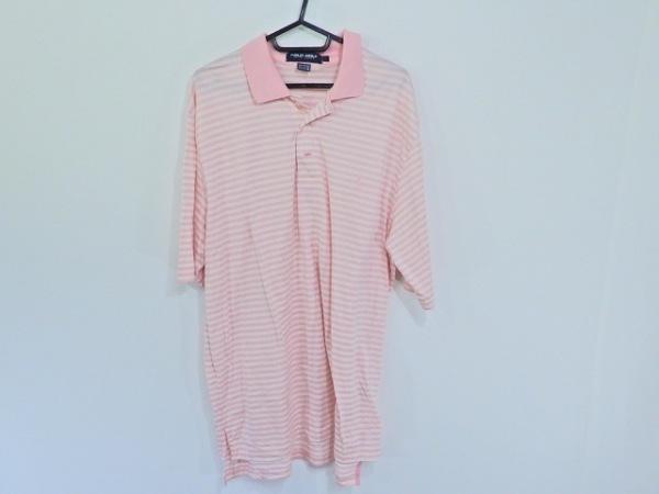ラルフローレン・ポロゴルフ 半袖ポロシャツ サイズL メンズ ピンク×白