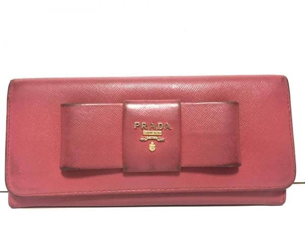 プラダ 長財布 - ピンク リボン レザー