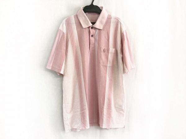 GIANNI VALENTINO(ジャンニバレンチノ) 半袖ポロシャツ サイズL メンズ ピンク×白