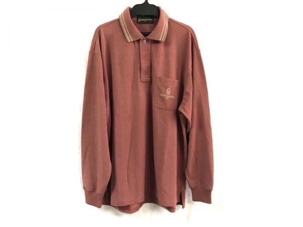 ジャンニバレンチノ 長袖ポロシャツ サイズL メンズ ブラウン×マルチ
