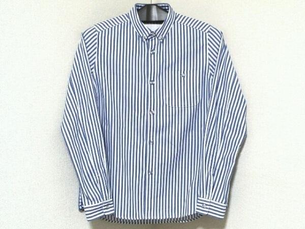 ホワイトマウンテニアリング 長袖シャツ サイズ00 XS メンズ 白×ネイビー