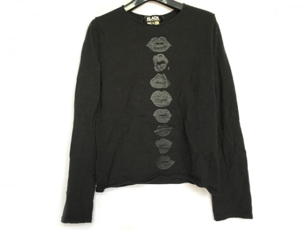 ブラックコムデギャルソン 長袖セーター サイズXS レディース 黒×ダークグレー 唇