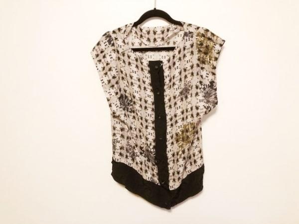 テラ ノースリーブシャツブラウス サイズ44 L レディース美品  ピンク×黒×マルチ