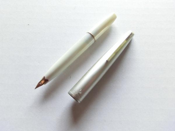 プラチナ 万年筆 シルバー×白×ゴールド