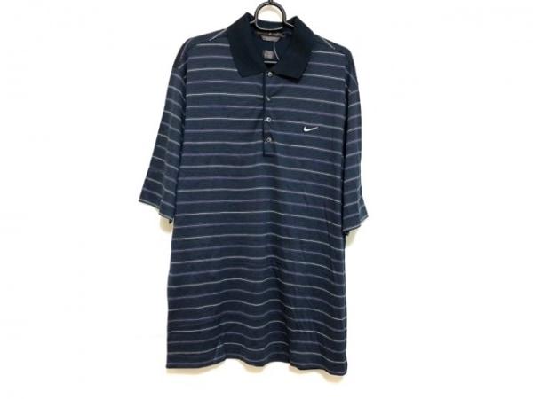 タイガーウッズ(ナイキ) 半袖ポロシャツ サイズXL メンズ ネイビー×白×パープル