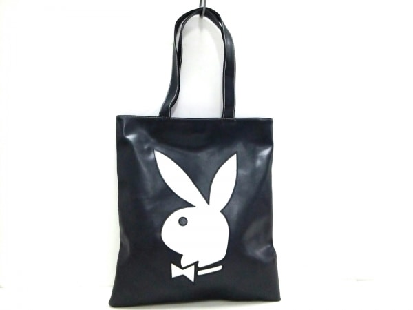 プレイボーイ トートバッグ - 黒×白 合皮