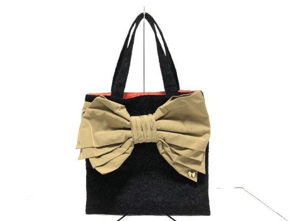 MUGUET(ミュゲ) トートバッグ美品  黒×ライトブラウン レース/リボン 化学繊維
