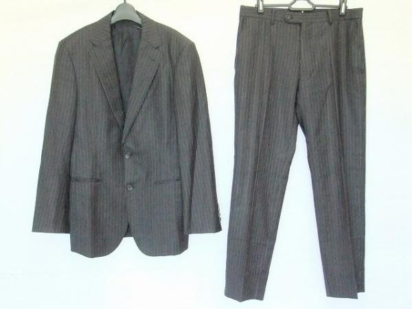 プラチナコムサ シングルスーツ サイズ46 XL メンズ 黒×ライトグレー