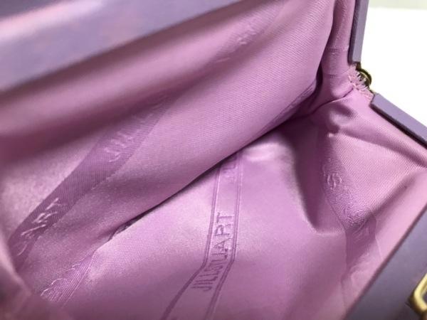 ジルスチュアート 3つ折り財布 パープル×ピンク がま口 レザー 4
