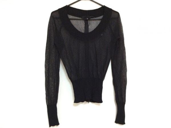 アレッサンドロデラクア 長袖セーター サイズ42 L レディース美品  黒 シースルー